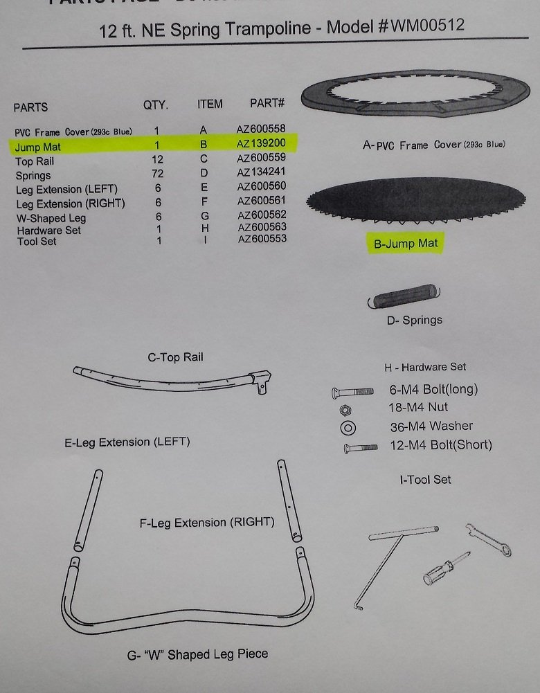 Amazon.com: Airzone 12 Round trampolín Reemplazo Jump Mat ...