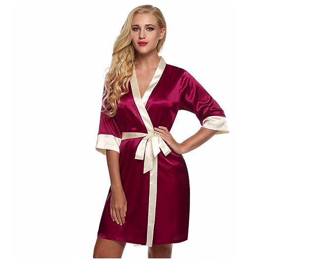 GSHGA De Las Mujeres Pijamas Pijama De Seda De Imitación Hueco Bata Kimono Cardigan Corto Verano