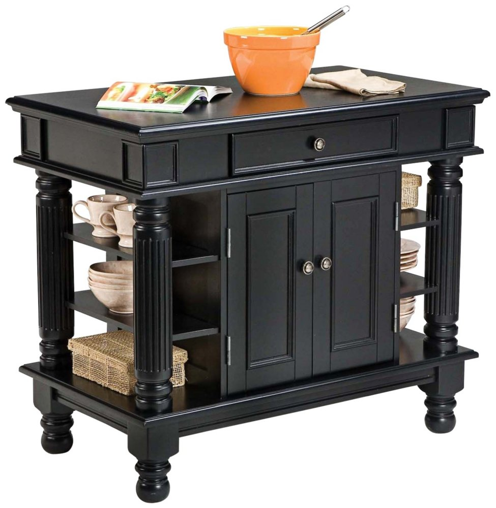 Amazon Com Home Styles 5092 94 Americana Kitchen Island Black Finish Kitchen Islands Carts