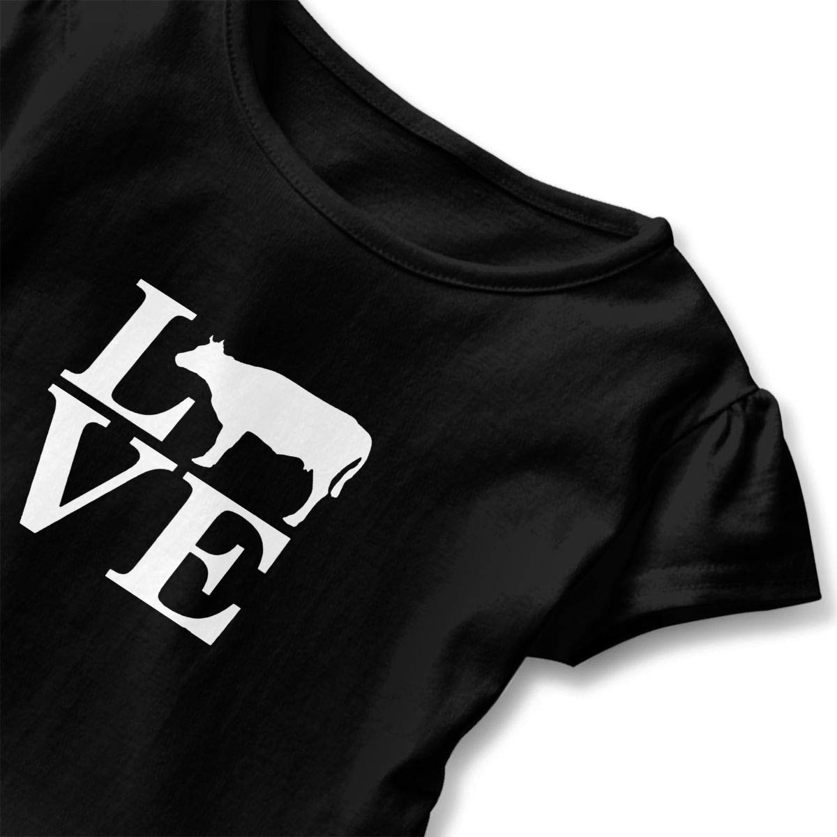 Love Cows Cute Adorable Printed Patterns Basic Ruffle Tee Shirts with Short Sleeves and O-Neck for Daily Party School Outside Playing Black
