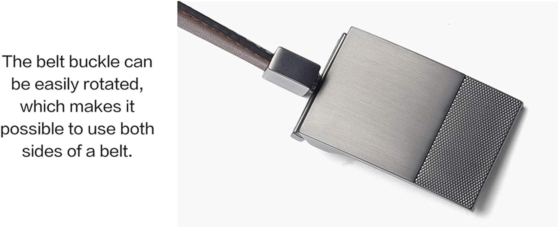 Men Leather Plate Reversible Buckle Belt Toothpick Pattern Male Business Belts