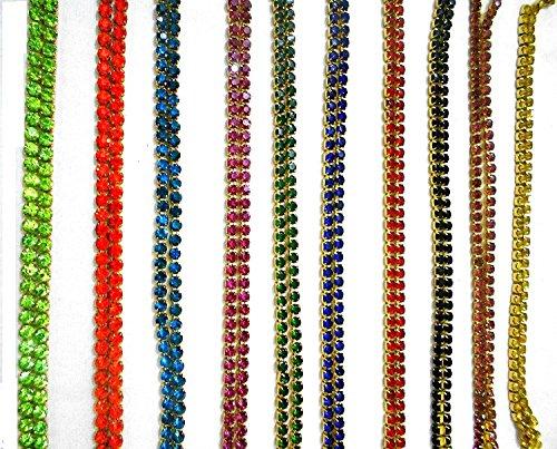 GOELX Stone Chain All Super Bright Gliterring Colours Combo 10 Colours for Jewelry Making/Crafts