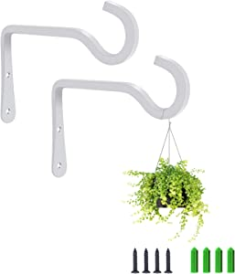Heavy Duty Metal Plant Hanger, Decorative Rustic Style Sturdy Iron Wall Hook Planters for Hanging Indoor Outdoor Plants Basket Bird Feeder Lantern and More, Home Garden Decor 2 Pack (White)