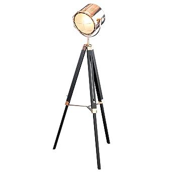 Vintage Stehleuchte TRIPOD Schwarz Kupfer 150 Cm Hhenverstellbar E27 Stehlampe Dreibein Wohnzimmerlampe