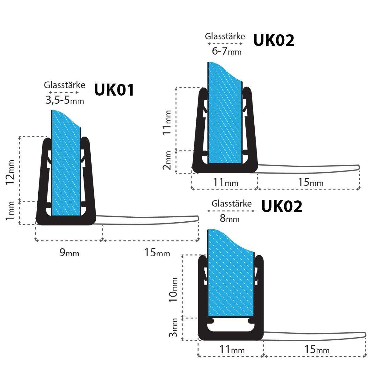 STEIGNER 90cm Joint d/étanch/éit/é de remplacement pour les vitres d/'une /épaisseur 6mm// 7mm// 8mm UK02