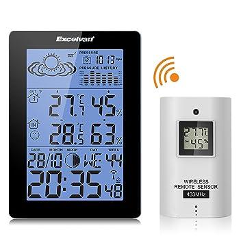 Funk Weather Station Wetterstation Barometer Temperatur Feuchtigkeit+Außensensor