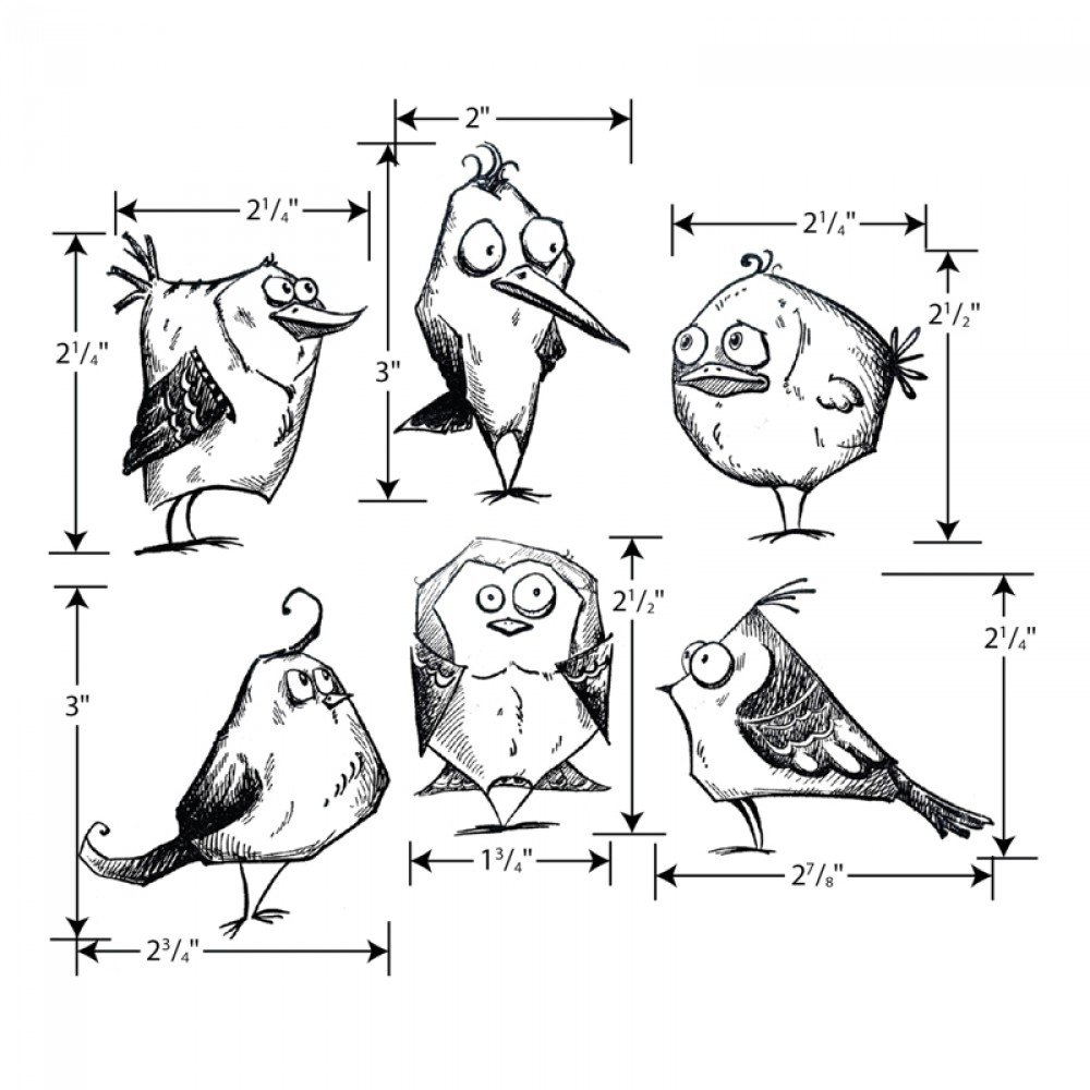 Tim Holtz Bird Crazy Cling Rubber Stamp and Sizzix Thinlits Dies Bundle by Sizzix