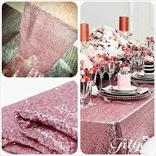 TRLYC 60 x 120-Inch Rectangular Sequin Tablecloth Rose Pink (Pink Rose Table)