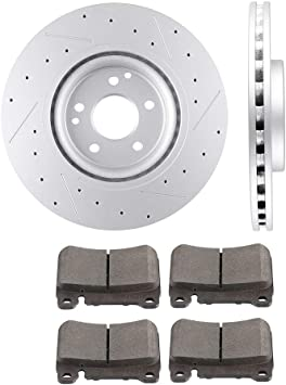 F+R Rotors /& Pads for 2006-2007 Mercedes Benz C280 models w//o Sport Package