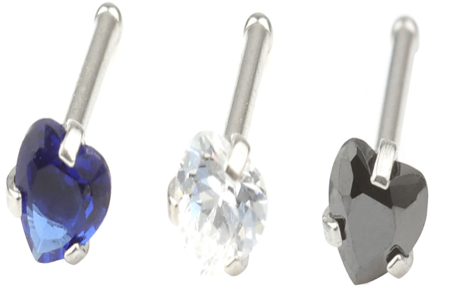 CM A+ 20G 3 Pcs Mix Stainless Steel Nose Rings Studs Piercing Body Jewelry 2.5mm Heart Shape Cubic Zirconia &13