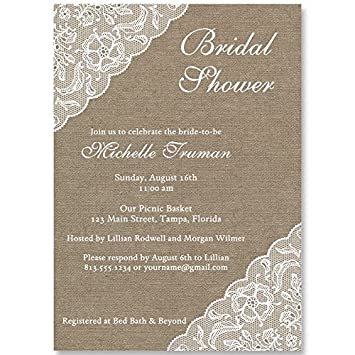 bridal shower invitations lace burlap brown tan jute linen