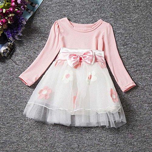 Longra Nette Kleinkind Baby Blume Bowknot Falten Tüll Kostüm Tutu Kleid Mädchen Prinzessin Kleid Hochzeit Ballkleid Festkleid Partykleider Pink