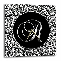 3dRose dpp_38767_1 Letter R Black and White Damask Wall Clock, 10 by 10-Inch