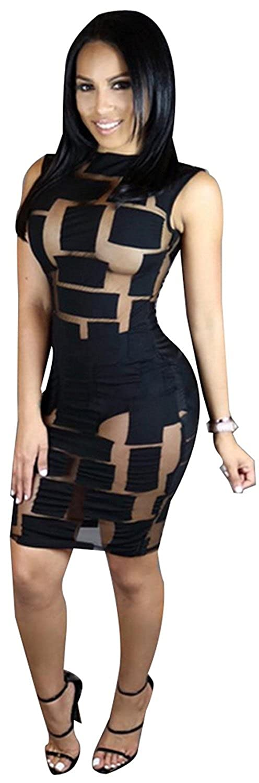 Women Sexy Sleeveless Mesh Splice See Through Bodycon Party Clubwear Mini Dress