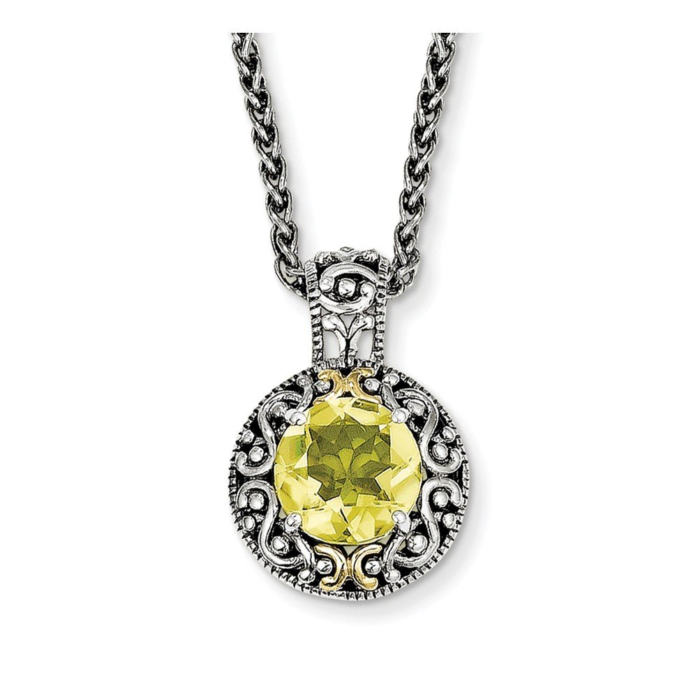 Sterling Silver and 14k gold Lemon Quartz Necklace 18in