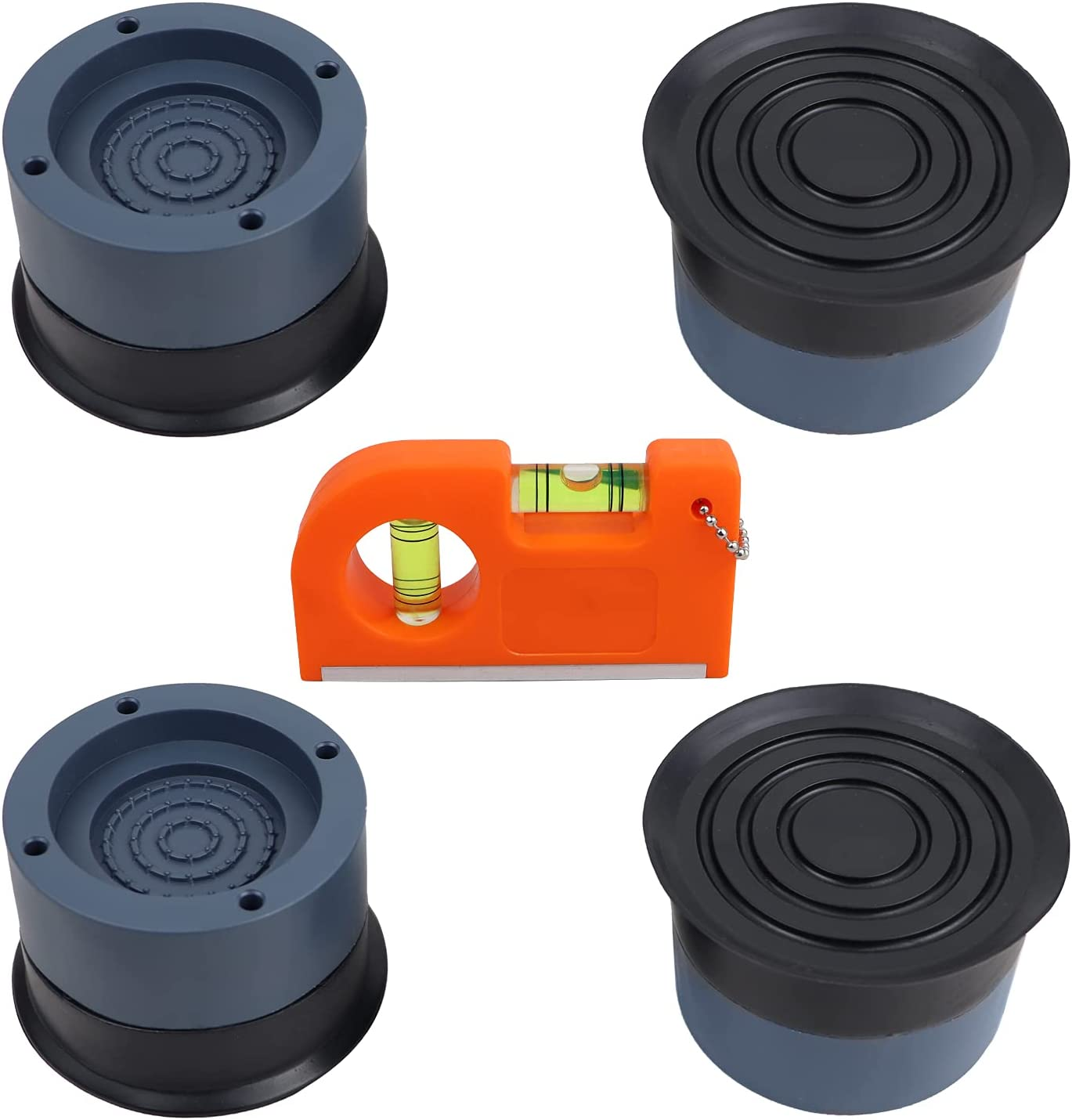 Upgraded Shock and Noise Cancelling Washing Machine Support, Rubber Washing Machine Feet Pads(4PCS), Including a Bubble Level, Anti Slip Anti Vibration and Noise reducing