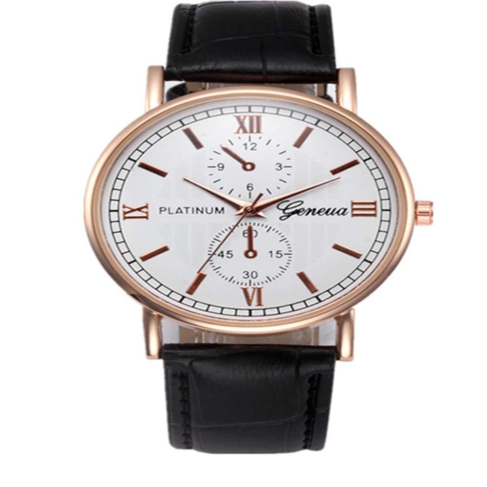 Cebbay Reloj de Cuarzo de los Hombres Correa de Cuero de aleación Vintage Negocios y Deportes de Ocio. (Negro): Amazon.es: Relojes