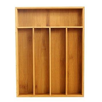 SinceY Caja de Almacenamiento Cubiertos de Cocina Organizador de cajón de bambú con 5 Rejillas Bandeja para Cubiertos Extensible: Amazon.es: Hogar