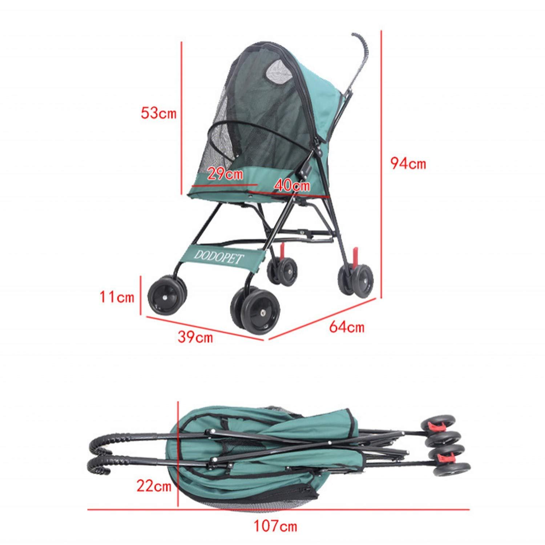 Black North cool Pet Travel Stroller Portable Folding Pet Stroller Dog Cat Pushchair Trolley Cart Cage Four Wheels (color   Black)