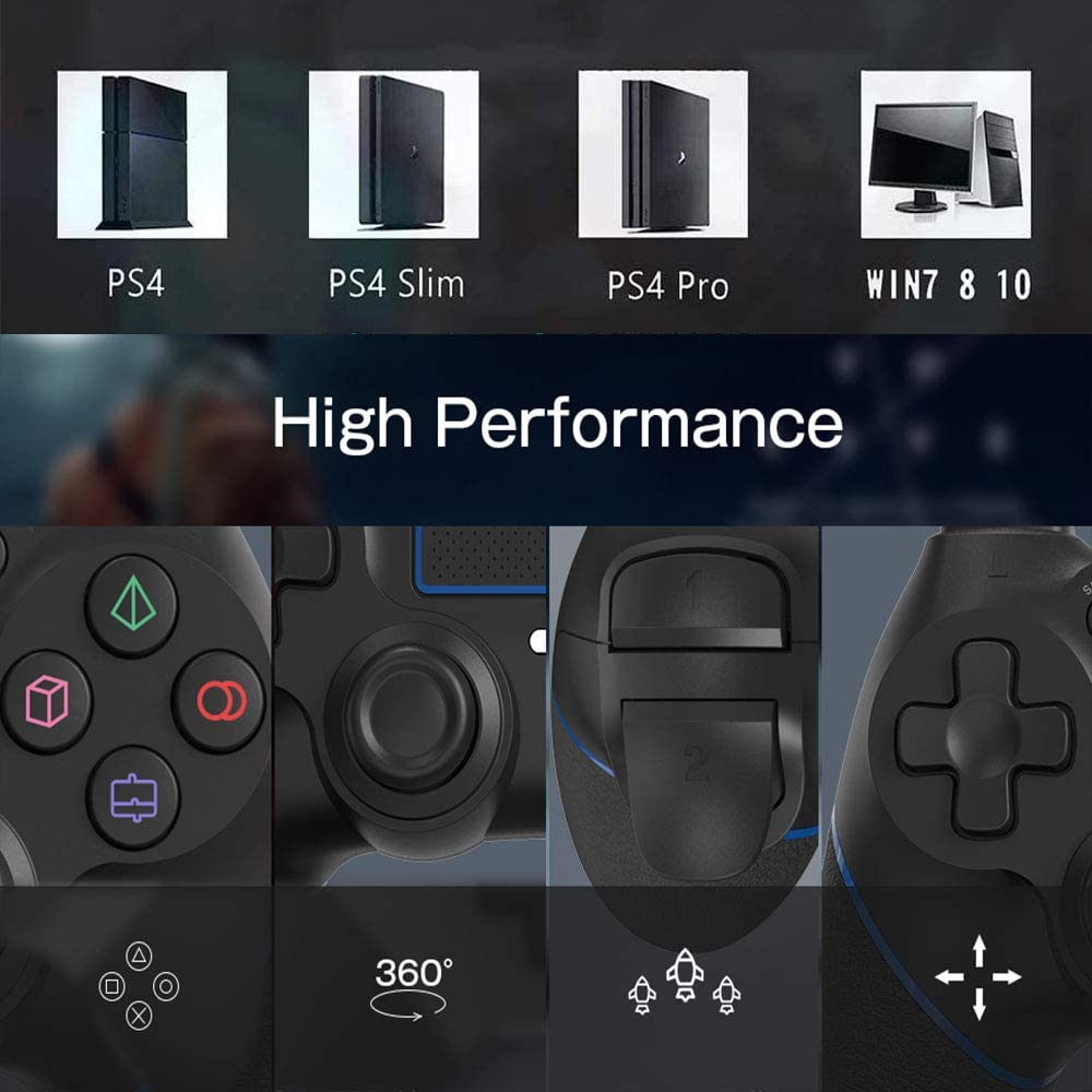 2020 Bluetooth Gamepad with Dual Vibration Rechargable Remote six-axis Dual Vibration Shock and audio jack controller blue MAXKU Wireless Controller for PS4