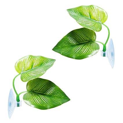 dizi248 Plantas Plásticas Acuario Planta Pecera Hoja Pad con Ventosa Mejor para Decoración Acuario