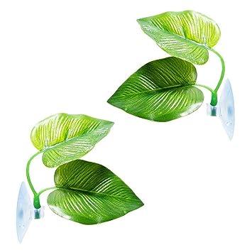dizi248 Plantas Plásticas Acuario Planta Pecera Hoja Pad con Ventosa Mejor para Decoración Acuario: Amazon.es: Productos para mascotas