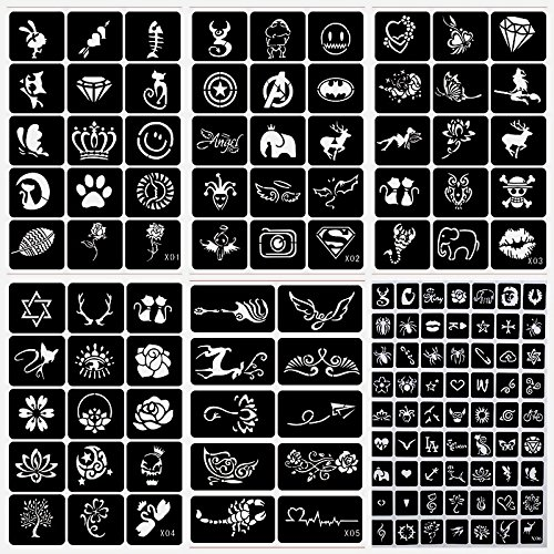 20 Sheet (446 Pieces) Airbrush Tattoo Stencils Album Art Book,Small Glitter Tattoo Template for Body Painting by xmasir (Image #3)