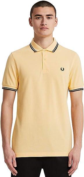 Mens Ben Sherman Fancy Tipped Short Sleeve 3 Button Cotton Polo Shirt In White