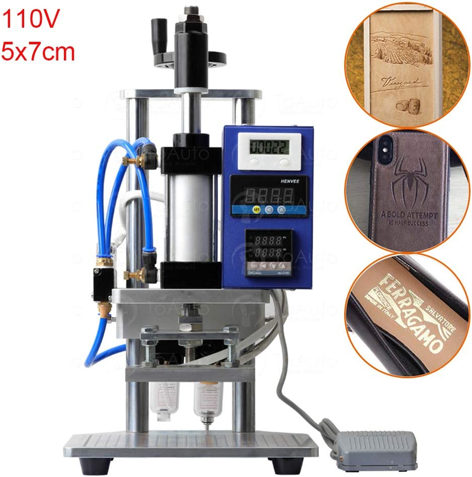 5x7cm, 110V Pneumatic Hot Foil Stamping Machine with Double Column Air Operated and Foot Switch for PVC Card Leather Wood Embossing