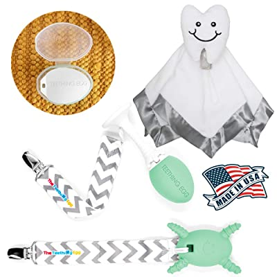The Teething Egg - Official Product, Made in The USA – 5 Product Bundle in Mint Green - Includes The Grippie Stick, The Molar Magician, Shell and Nummie Lovey Security Blanket: Toys & Games
