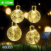 36ft Solar Globe String Lights, 60 LED Starry Fairy Lights, Outdoor Waterproof Crystal Ball Ambiance Lights for Garden Patio Home Wedding, Christmas Tree Timer/USB Charge (Warm White)