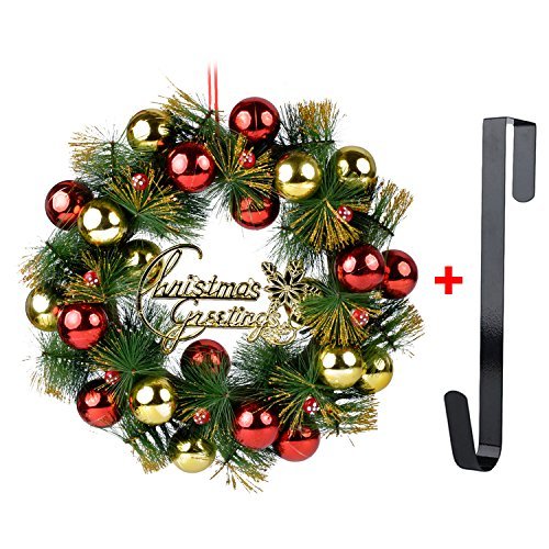 Beautiful Holiday Wreath - Coxeer Christmas Wreath, 16In Xmas Wreath Glittering Balls Hanging Ornament Door Decor Wreath with Hanging Hook for Christmas Party Decor