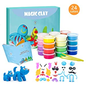 ESSENSON Modeling Clay Kit - 24 Colors Air Dry Ultra Light Modeling Magic Clay, Soft & Stretchable DIY Molding Clay with Clay Tools, Animal Accessories and Easy Storage Box Best Gifts for Kids/Adults
