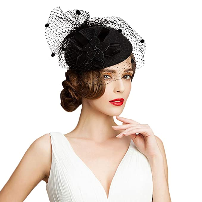 02dbadd05 F FADVES Women Wool Fascinator Pillbox Hat Flower Veil Wedding ...