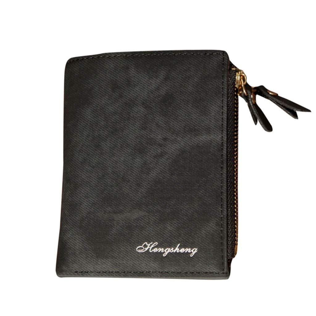 NRUTUP Wallet Men Soft Leather Wallet Card Slots Multifunction Wallet Purse Clutch (11.8X1.2X9.5cm,Black)