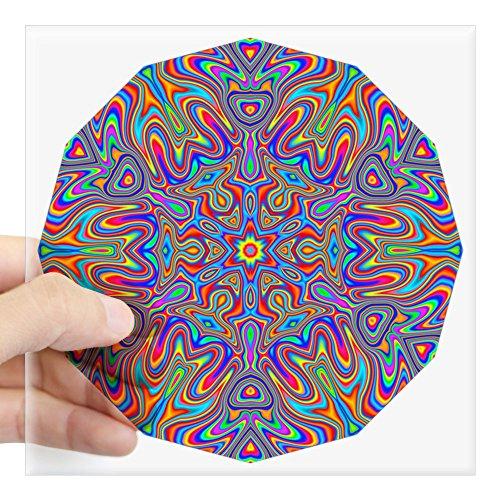 CafePress Digital Mandala 4 Square Sticker 3