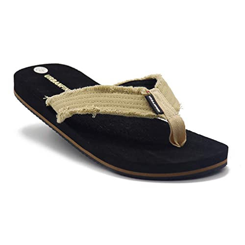 67aec723410d08 URBANFIND Men s Flip Flops Canvas Thong Sandals Flat Slide On TPR Non Slip  Slippers Black