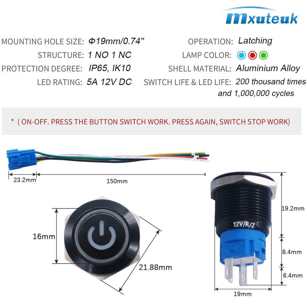 "mxuteuk 16mm Latching Push Button Switch 1 NO 1 NC SPDT ON//OFF Black Metal Shell with 12v Red LED Ring With Wire Socket Plug Suitable for 5//8/"" Mounting Hole L-16-O-B-R"