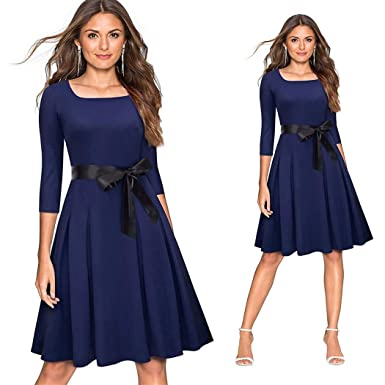 ac2fefe51 Business Dress Fashion Lady Bow Solid Color Casual Office Party Dress  Vintage A-Line Work at Amazon Women s Clothing store