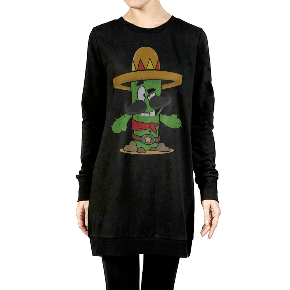 Beauty/&Fashions Cartoon Cactus Wearing Sombrero Womens Cotton Fleeces Soft Long-Sleeved Pullover Jacket