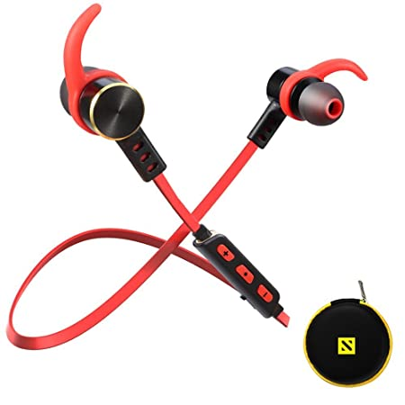 SONYXER CHKOKKO Gear 6 Waterproof Bluetooth Earphones    Wireless Earbuds Headset    Gym Running    Noise Cancellation    Sport Headphones with Mic    Wireless Earphone with Mini Case-( Red ) <span at amazon