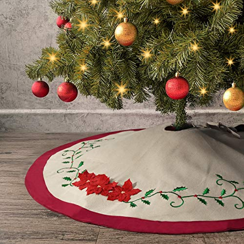 Ivenf Christmas Tree Skirt, 48 inches Cotton Burlap with Embroidery Holly Leaves, 3D Flowers Pattern, for Family Holiday Decorations, Red and Green