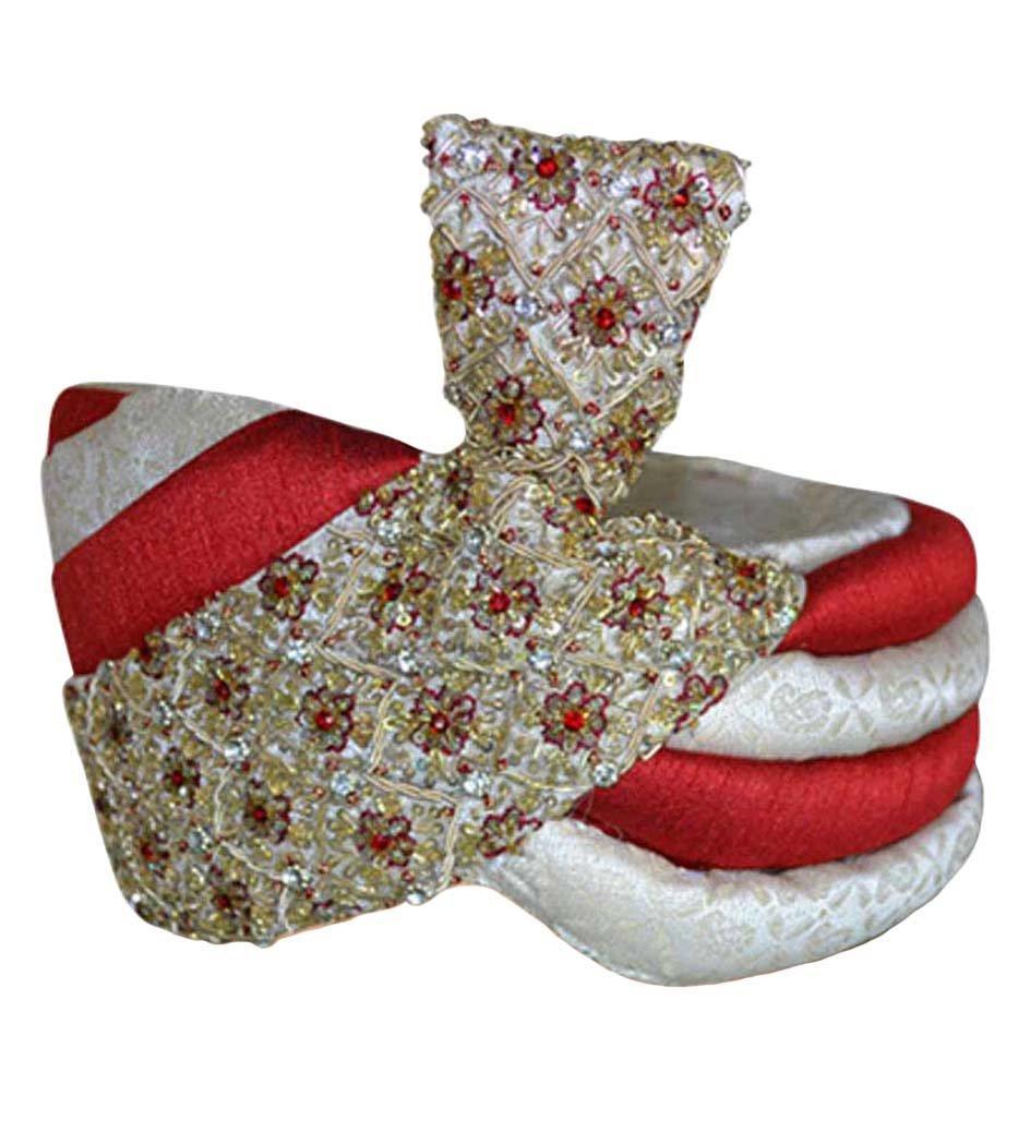 INMONARCH Mens Designer Wedding Turban pagari safa hat for groom TU2330 22-inch Red-cream