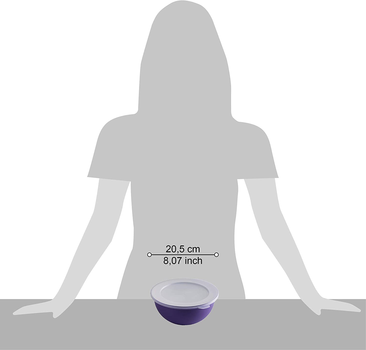 Omada Design lid 7.87 inch Diameter in Polypropylene and Antibacterial 52.79 fl oz Bowl Inside White and Outside Colored