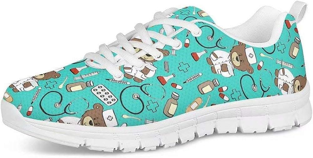 POLERO Zapatos Deportivos para Mujer, Zapatillas Planas con diseño de Osos, Zapatillas de Tenis con Cordones de Malla, Zapatos para Correr Ligeros y Casuales,36-45 EU