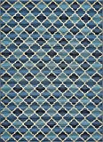 Unique Loom Eden Outdoor Collection Blue 8 x 11 Area Rug (8' x 11' 4'')