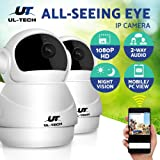 UL-TECH 2x Wireless Security Camera 1080P HD Home WIFI IP Camera Surveillance Camera System Pet/Baby Monitor with Two-Way Audio Remote 10m Night Vision Motion Detection Email Alarm-White