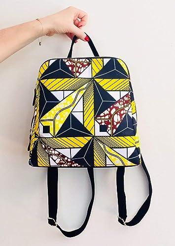 2858eeb7128 Sac à dos fashion wax tissu africain imprimé géométrique graphique ...