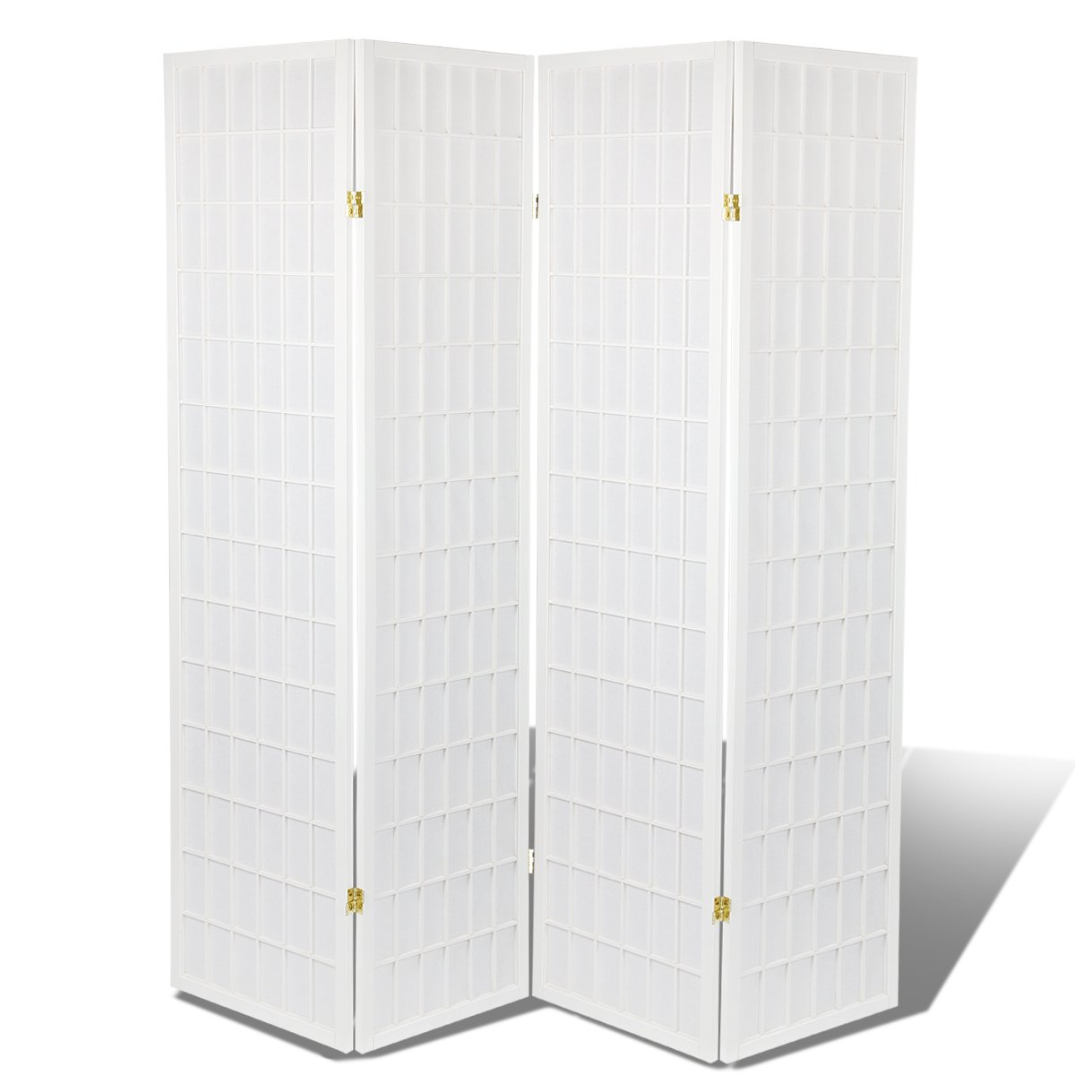 High Quality Oriental Room Divider Hardood Shoji Screen (White, 4-Panel) by Magshion Futon Furniture