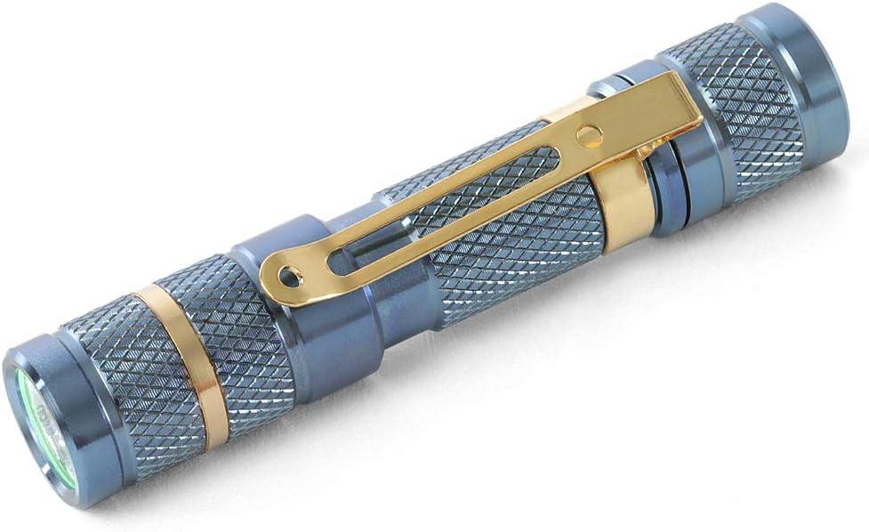 85 lumens 1.2 oz Massdrop Blue Titanium AAA Flashlight /— EDC Mini Pocket LED Torch Nichia 219C LED 3 Modes IPX-8 Waterproof